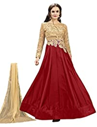 Lilots Tafetta Silk Red Heavy Embroidery Work SemiStitch Anarkali Suit