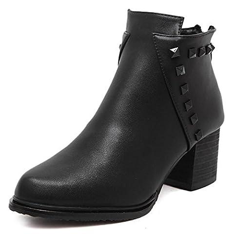 Femmes Dames Nouveau Mid High Heel Short Boots Chaussures Chunky Rough Pointed Toe Ronde Tête Artificielle Cuir PU Rivets Metal Boucle Zipper Loisirs Confortable Chevalier Pompes Noir Gris Automne Printemps Winte , black , EUR 36/ UK 3.5
