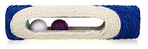 Gattino Animale domestico Gatto Giocattolo Lungo rotolamento Sisal Tiragraffi Scratcher con 3 palle Rullo (Blu)
