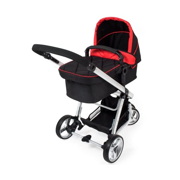 TecTake 3 in 1 Pushchair stroller combi stroller buggy baby jogger travel buggy kid's stroller -different colours- (Red/Black)  Aluminium frame | mosquito net Collapsible to a compact size for space-saving transport 5-point safety harness, Safety bar 2