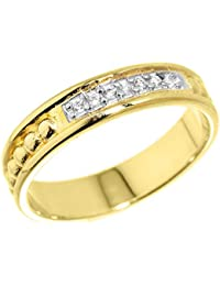 Little Treasures - 10 ct Yellow Gold Unisex Wedding Band with CZ