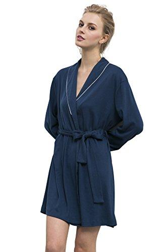 Suntasty Damen Schlafkomfort Nachthemden weich Morgenmäntel (Blue,M,1040W)