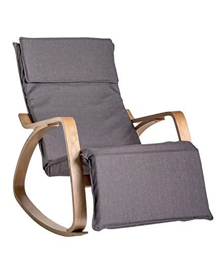 Enrico coveri contemporary poltrona dondolo relax, sedia ergonomica in legno e tessuto con poggia gambe regolabile, moderna ed elegante in vari colori (grigio)