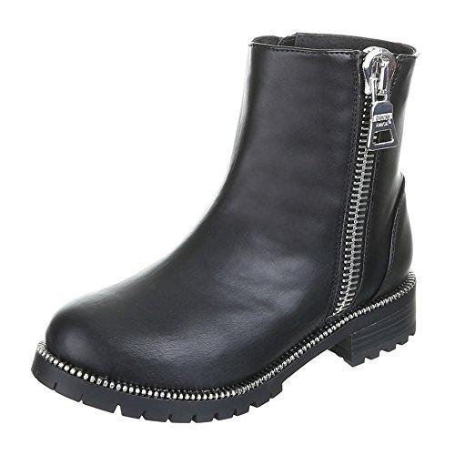 Damen Schuhe, HELEN, BOOTS Schwarz Silber HENNI