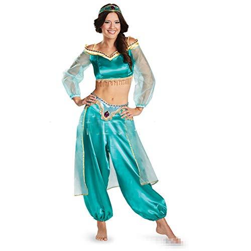 Prinzessin Kostüm Baby Jasmin - AINI Halloween-Kleider, Jasmin-Prinzessin-Kostüm für Erwachsene, Kopfbedeckung + Oberteile + Hosen, Märchen, Größe: M-1