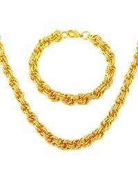 mujeres de la cadena de la cuerda&los hombres de moda de oro sello 18k collar plateado&pulseras 44cm9mm gran regalo de navidad