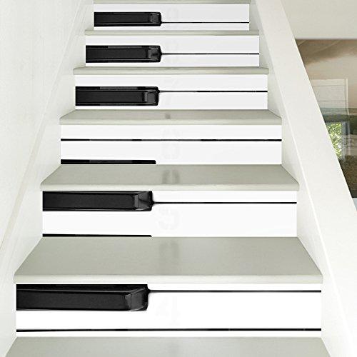 ZC&J Piano schlüssel dekorative treppe aufkleber, selbstklebende pvc material wasserdicht aufkleber, moderne minimalistischen stil DIY kreative aufkleber,6pcs,100*18cm (Piano Aufkleber Für Schlüssel)