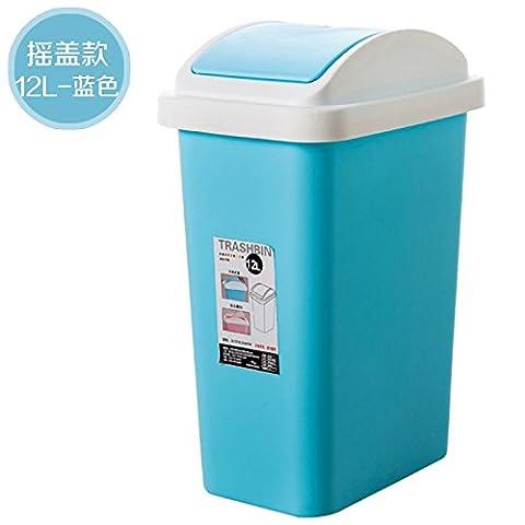 Küchen-Abfalleimer fuckluy 12 L große Mülleimer Haushalt hygiene Wohnzimmer und eine Küche mit Abdeckung Büro wc Papier Korb mit Deckel und 12 L, D12 L Ventildeckel, Blau