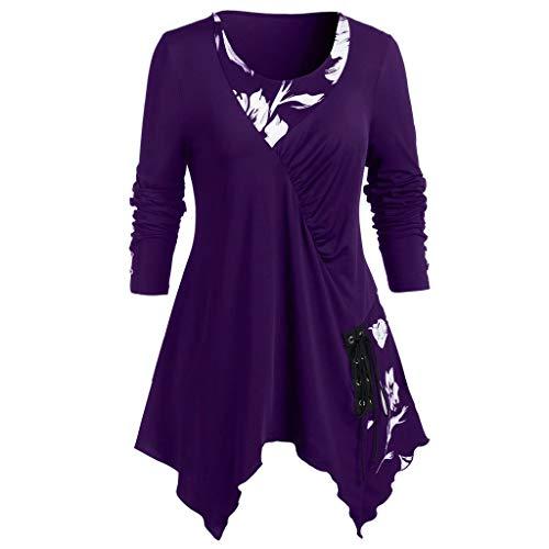 Andouy Langarm-Shirt für Frauen Dressy Tunika Tops Casual Gefälschte 2-Stück Bluse mit Blumen(3XL.Lila-1)