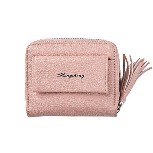 Portafoglio Donna, Tpulling Portafoglio in pelle chiusura lampo delle donne della borsa della frizione della signora Short della borsa (Pink) Pink