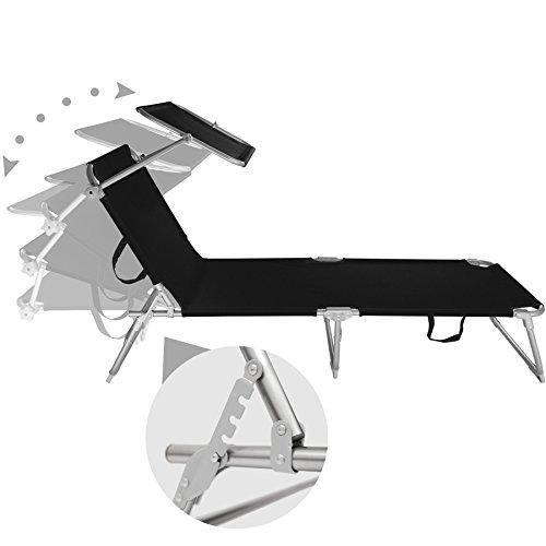TecTake® Gartenliege Sonnenliege Strandliege Freizeitliege mit Sonnendach 190cm schwarz - 3