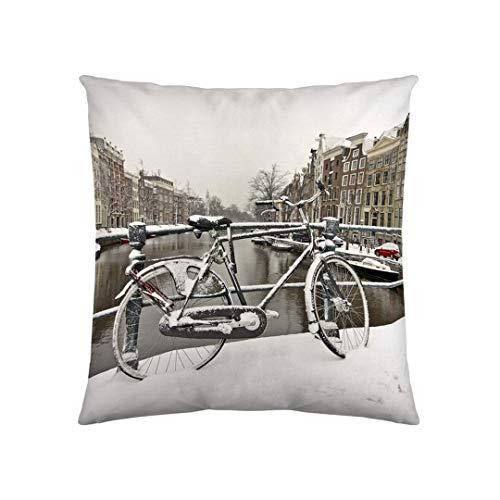 etérea 100% Baumwolle Dekokissenhülle Kissenbezug Kissenhülle, Fahrrad Weiß 40 x 40 cm