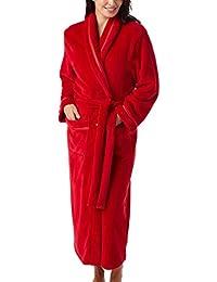 aa21eea90e Ladies Flannel Fleece Dressing Gown Robe Satin Trim Grey Red Navy Teal Plum  Pink Full…