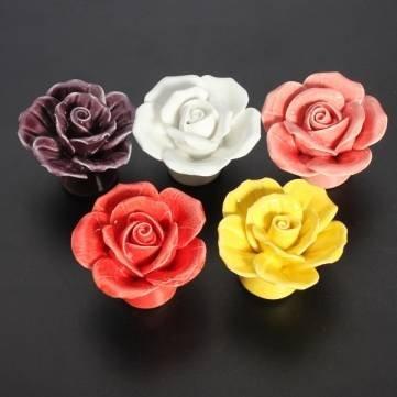 Céramique de Bheema fleur de Rose porte Boutons de tirer la poignée - Purple