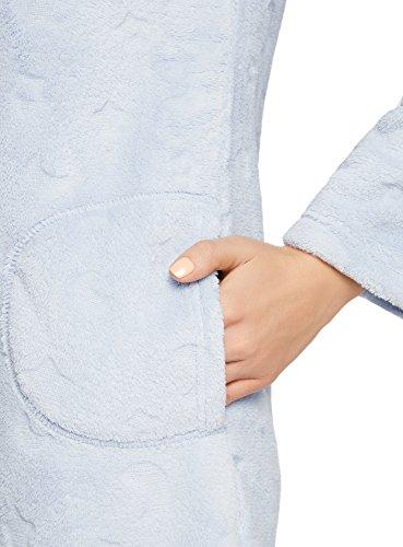 oodji Ultra Femme Robe d'Intérieur à Capuche Bleu (7000O)