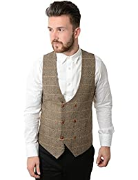 Marc Darcy Len Blake Double Breasted Tan Tonal Check Tweed Waistcoat