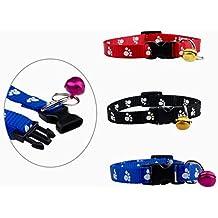 Collar de huellas para perro & gato 20–31cm Con Cascabeles en 3colores (Negro, Azul & Rojo)–Gato Collar–Collar de perro de banda