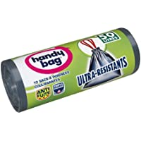 Handy Bag, 355788035353, Sacchetti per la spazzatura ultra resistenti, con maniglie scorrevoli a nastro e chiusura elastica, 50 l, 68 x 73 cm, 2 pacchi da 10