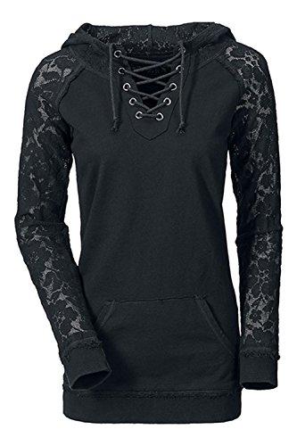 - Des Manches Longues Les Lacets Des Sweat - Shirts Tops Avec Des Poches. Black