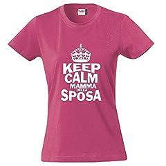 Idea Regalo - BrolloGroup T-Shirt Donna Keep Kalm Sposa Addio al Nubilato Maglietta Aderente PS 28870-keepSposa (L, Lampone)