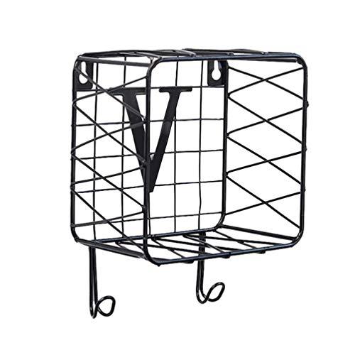 Koojawind Wandhalterung Aktenhalter - Haken Wandhalterung SchlüSsel Mail Brief Organizer Lagerregal Halter AufhäNger Home-Mesh Metall Aktenhalter Organizer - Schwarz -