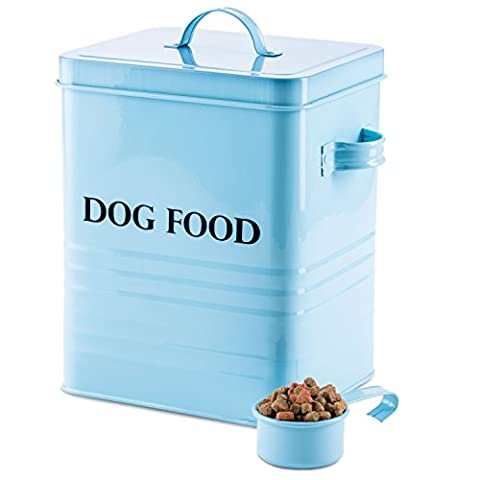 Andrew James Dog Food And Treats Storage Canister Vintage Classic Blue - 2.5kg Capacity