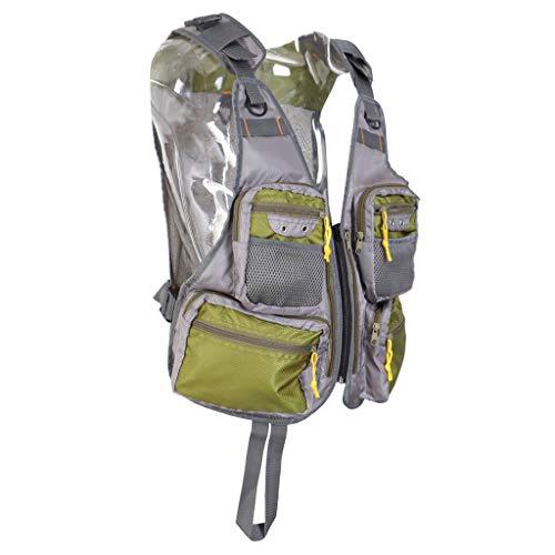 B Baosity Unisex Angler Outdoorweste mit vielen Taschen Atmungaktiv Mesh Weste Anglerweste Grün Grau -