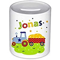 Spardose, Traktor, mit Namen, für Kinder, Geschenk zur Einschulung, zum Geburtstag, zu Weihnachten, zur Taufe, Sparschwein, Geldgeschenke,