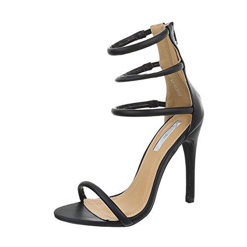 Ital-Design High Heel Sandaletten Damen-Schuhe High Heel Sandaletten Pfennig-/Stilettoabsatz High Heels Reißverschluss Sandalen & Sandaletten Schwarz, Gr 38, B506Yh-Pb-