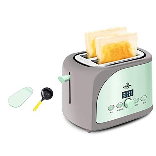 JINRU Toaster 2 Scheibe, LCD-Timing-Display, 7 Geschwindigkeitsanpassung, Auftauen, Leicht Zu Reinigen, Für Bagels, Spezialbrote & Andere Backwaren, Tragbar Für Die Hausküche,Green (Toaster-lcd)
