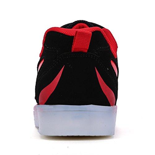 DoGeek Unisex Bambino Scarpe Con Luci Scarpe Led Luminosi Sneakers Con Luce Nella Suola Bright Tennis Shoes USB 7 Colori Lampeggiante Trainners rosso2
