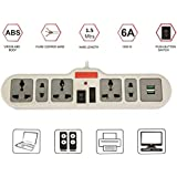 Spike Guard With USB Ports – Spike Guard With Surge Protector – Spike Booster – Spike Board With 1.5Metre Cord – Extension Boards With 5 Sockets And USB Ports – USB Hub – Spike Buster With USB – Ideal For Home, Of