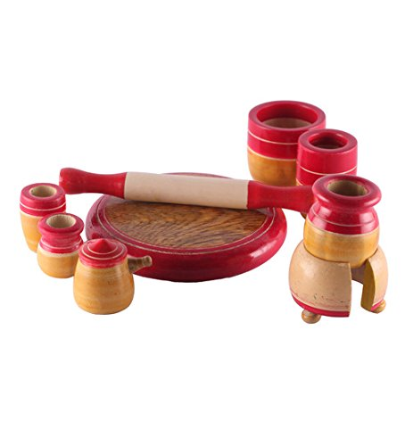 Kalaplanet Eco friendly Red Wooden Toy Kitchen Set