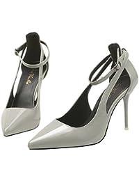 Xianshu Elegante Damen Reizvoller Rhinestone Spitzte Flache Mund Absatz Schuhe(Weiß-35)