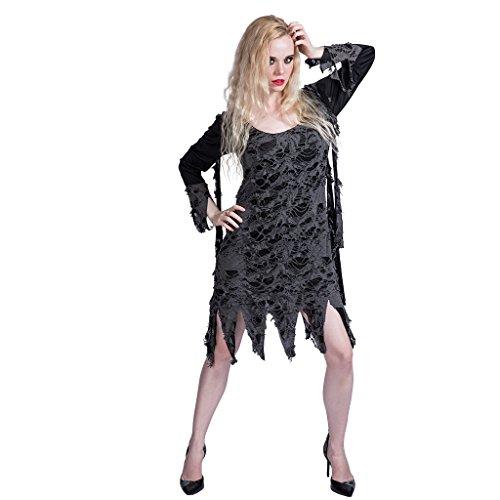 (EraSpooky Damen Zombie Kostüm Loch Kleid für Karneval Halloween)