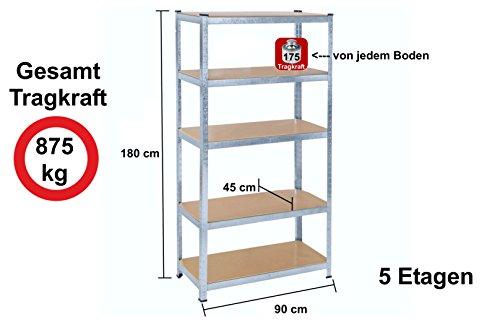 Lagerregal Schwerlastregal Steckregal Kellerregal 875kg, 180 x 90 x 45 cm Garagenregal Izzy Sport