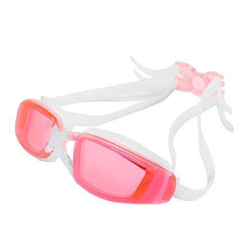YFX Create Sport Schwimmbrille Wasserdicht Antibeschlag 100% UV-Schutz Triathlon Schutzbrille mit Schutzhülle für Erwachsene Männer Frauen und Kinder (weiß-rosa)