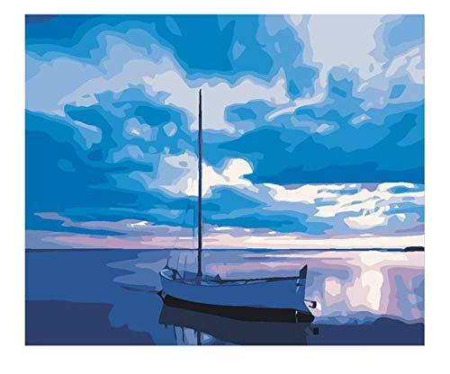 Blue Sky Zeichnung Nach Zahlen Diy Sea Boat Malerei Handarbeit Auf Dekoration Gemälde Ölgemälde Kunst Färbung Wohnkultur Größe : 40X50 Cm Diy Frames