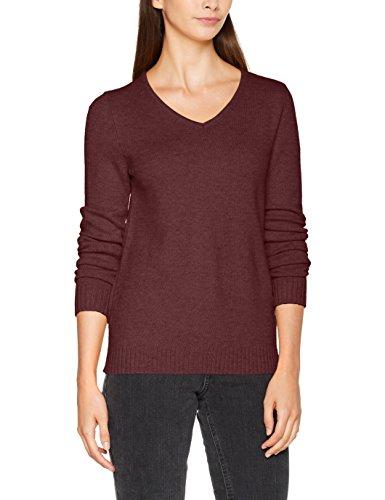 VILA CLOTHES Damen Pullover Viril L/S V-Neck Knit Top-Noos, Rot (Fig Detail:Melange), 36 (Herstellergröße: S) (Top Detail Knit)