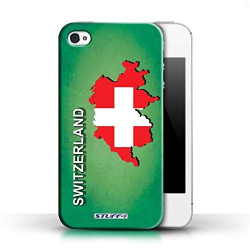 KOBALT® Hülle Case für Apple iPhone 4/4S | Argentinien Entwurf | Flagge Land Kollektion Schweiz/Swiss