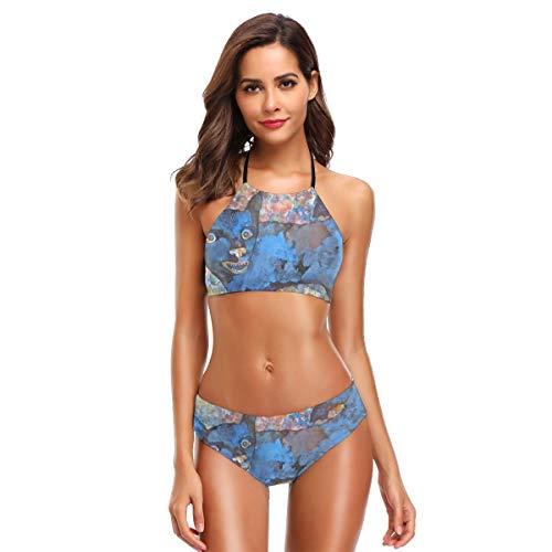 Metallic Schiere Bh (Blauer Hundebadeanzug für Frauen Zweiteiliger Badeanzug mit hoher Taille Set L)