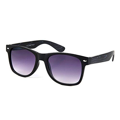 Ocona© occhiali, unisex, effetto motivo Retro Vintage Nerd Style, Wayfarer a specchio e manico in legno, con custodia multicolore lila (schwarze Bügel)