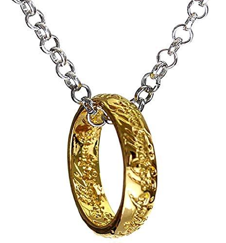 Kostüm Cosplay Aragorn - Halskette für Herren und Frauen - Damen Kette - Frauenhalskette - Ring - Der Herr der Ringe - Lord of The Rings - Film - Fernsehserie - Gold und Silber Farbe