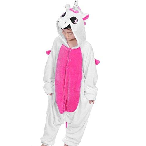 Gugutogo Kinder Cute Animal Footed Pyjama Einteilige Sleeper Full Sleeve Pyjama (Farbe: pink) (Größe: 140) (Pink-footed Sleeper)