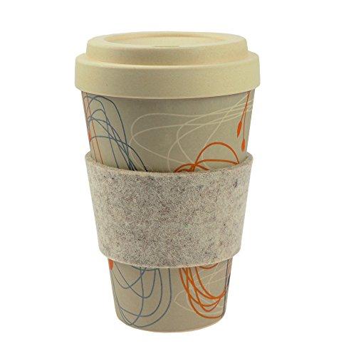 ebos Coffee-to-Go-Becher aus Bambus | incl. Schraubdeckel, Griffring aus 100% Wollfilz |...