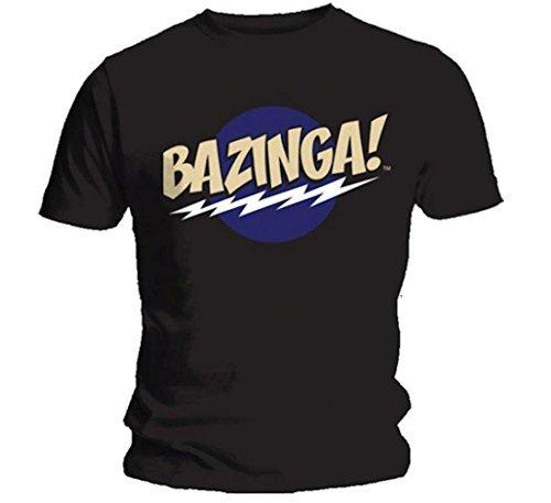 Die Theorie vom Urknall - Bazinga! Schwarz - Offizielles Herren T-Shirt - Schwarz, Small (Theorie Shirt Aus Baumwolle)