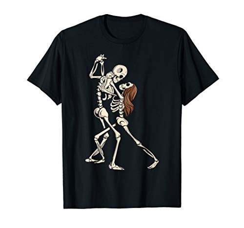 Dancing Skeleton Couple Halloween Valentine Dance Skull T-Shirt (Eine Ideen Dance Halloween-school Für)