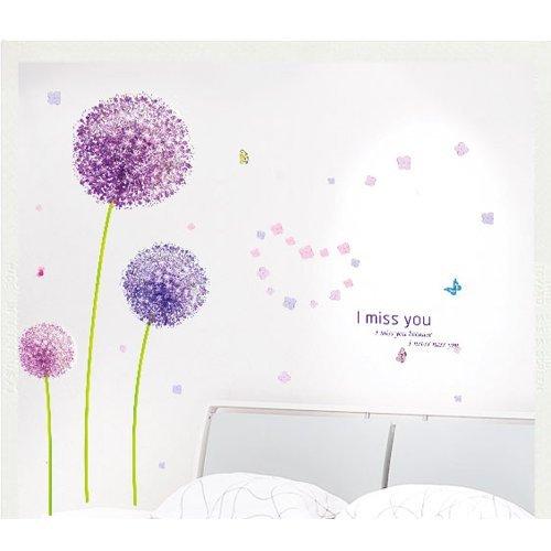 Decoración del hogar pared vinilo adhesivo adhesivos arte mural, color morado de mariposas y flores