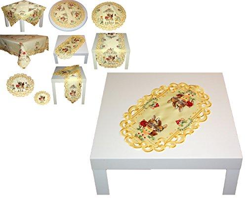 Niedliche TISCHDECKE Tischläufer 30x45 cm oval OSTERN gelb OSTERHASE mit Küken farbig gestickt Osterdeckchen (30x45 cm oval)
