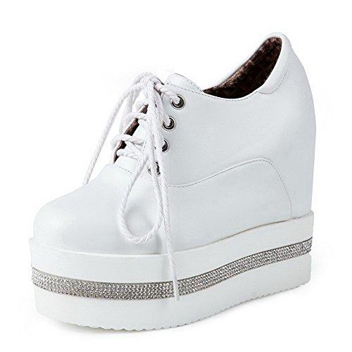 VogueZone009 Femme à Talon Haut Couleur Unie Lacet Rond Chaussures Légeres Blanc